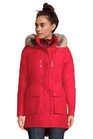 School Uniform Women's Petite Expedition Waterproof Down Winter Parka with Faux Fur Hood