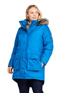 Women's Plus Size Expedition Waterproof Down Winter Parka with Faux Fur Hood, Front