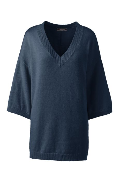 Women's Tall 3/4 Sleeve Pitched Hem V-neck Sweater