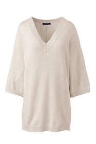 Women's Petite 3/4 Sleeve Pitched Hem V-neck Sweater