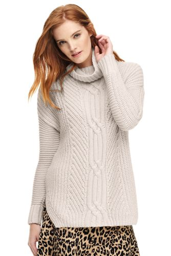 Women's Shaker Cable Turtleneck Sweater from Lands' End