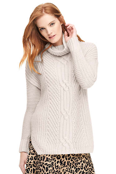 2989b5d58a8a Women s Shaker Cable Turtleneck Sweater from Lands  End