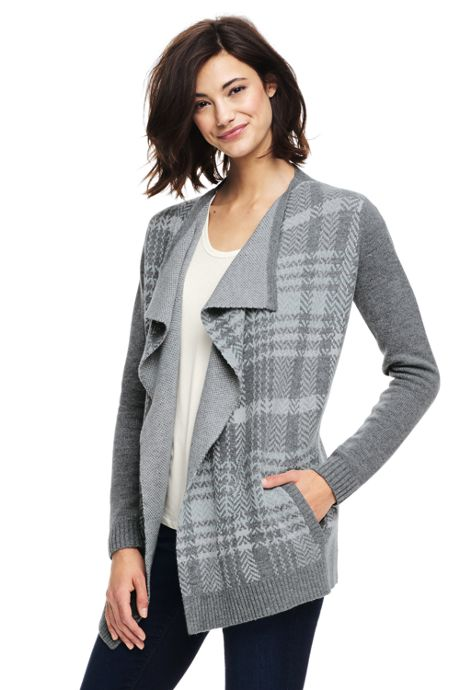 Women's Petite Wool Blend Waterfall Sweater Coat