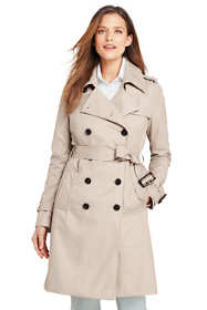 Women's Petite Cotton Long Trench Coat