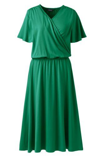 Wickelkleid mit Rüschenärmeln für Damen in Plusgröße
