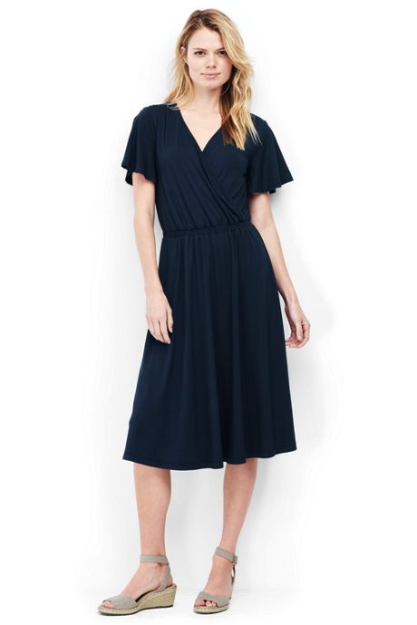 Women's Petite Flutter Sleeve Surplice Dress