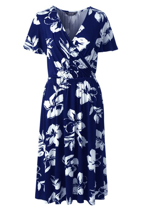 Women's Petite Flutter Sleeve Floral Surplice Dress