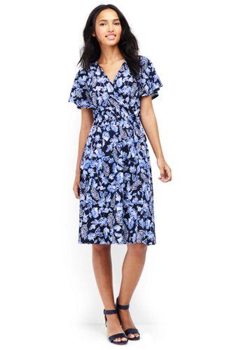 Gemustertes Wickelkleid mit Rüschenärmeln für Damen in Normalgröße