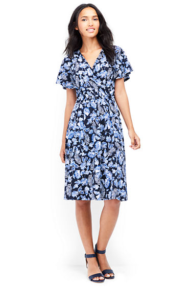 Womens Regular Soft Stretch Jersey Tie Front Dress - 8 - BLUE Lands End yRXwO2wL