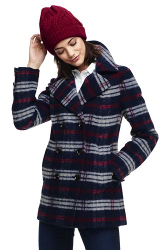 Lands end women's plaid wool coat