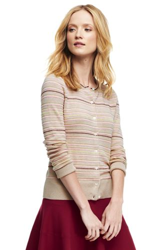 Women's Petite Fine Gauge Supima Textured Striped Cardigan