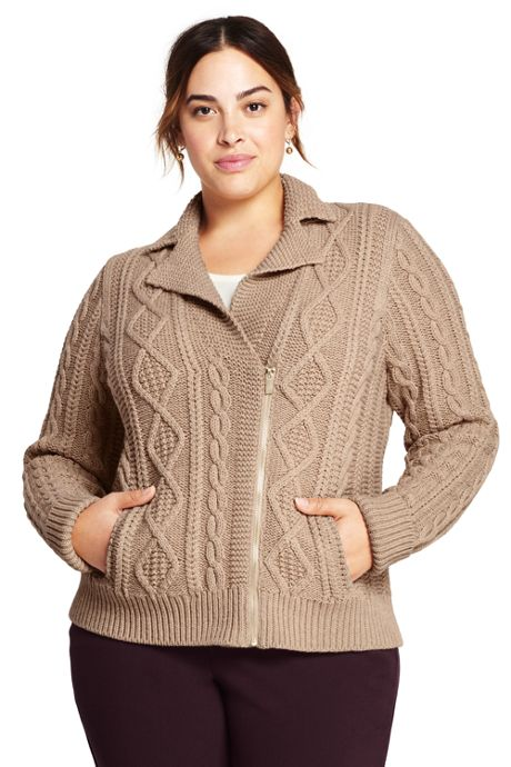Women's Plus Size Cable Moto Sweater Jacket