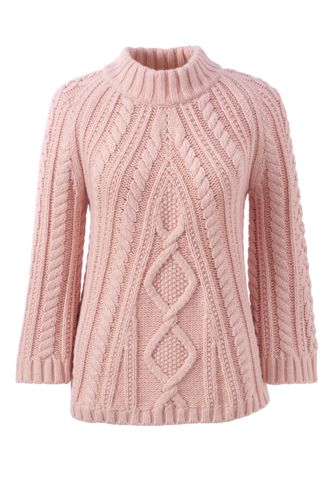 Women's Lofty Three-quarter Sleeve Polo Neck Cable Jumper