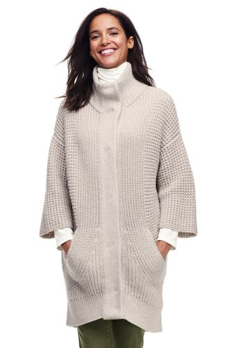 Women's Drifter Cotton Stripe Sweater Coat from Lands' End
