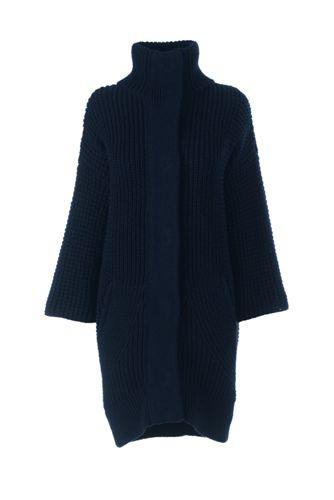 Le Cardi-Manteau en Laine Mélangée et Manches 3/4, Femme Stature Standard