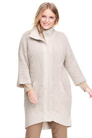 Women's Plus Size 3/4 Sleeve Funnel Neck Sweater Coat