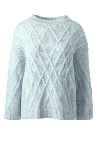 Stehkragen-Pullover mit Linienrelief für Damen in Petite-Größe