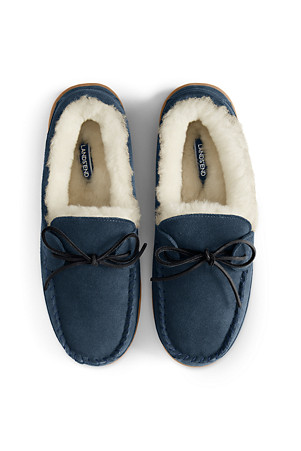 7f3949a1c79e6 Men's Suede Moccasin Slippers with Shearling Lining | Lands' End