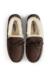 Men's Suede Moccasin Slippers with Shearling Lining