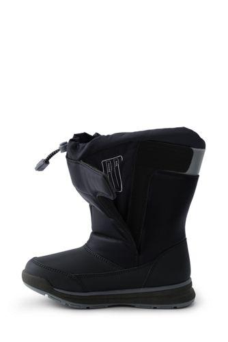 LAND END KIDS Big Boys KIDS Black SNOW FLURRY Winter Boots 3 4