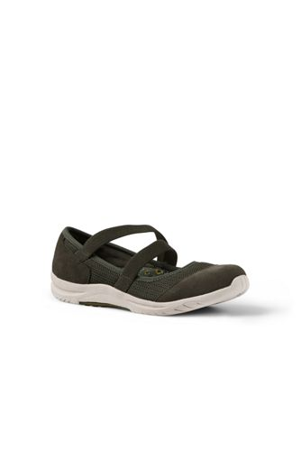 Womens Wide Comfort Mary Jane Shoes - 7.5 - Grey Lands End