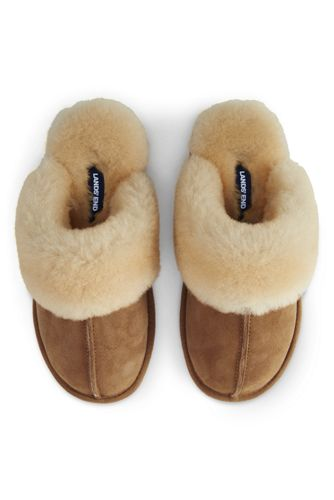 Women's Suede Mule Slippers with Shearling Collar