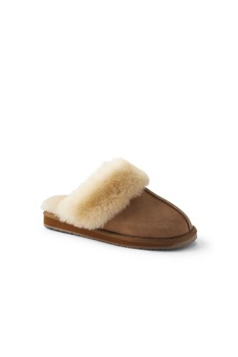 Women's Suede Leather Shearling Fur Scuff Slippers
