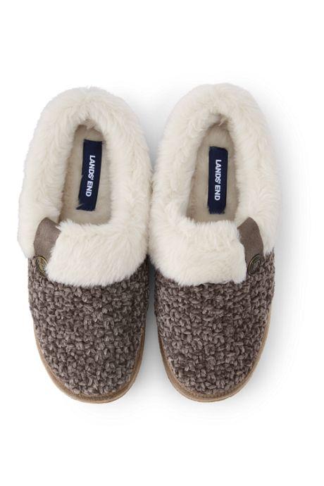 Women's Knit Fuzzy Clog Slippers