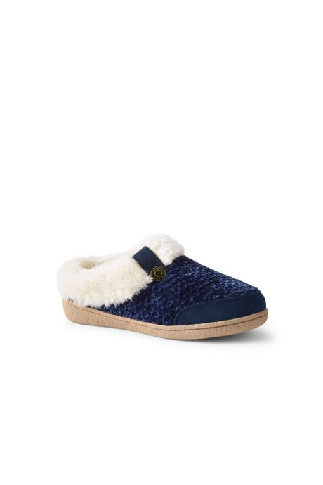 Women's Knit Fuzzy Clog Slippers