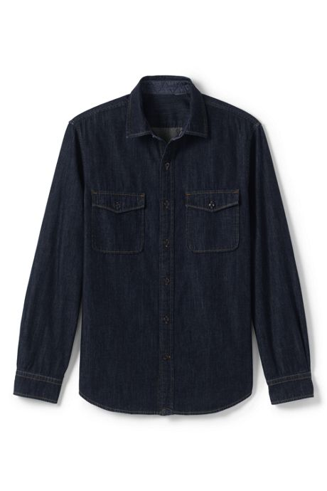 Men's Tall Tailored Fit Military Denim Shirt