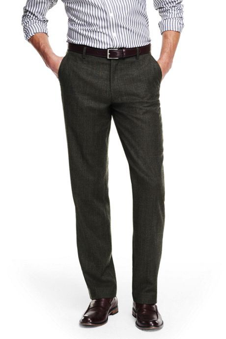 Men's Tailored Fit Wool Flannel Trousers