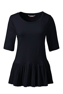Women's Pleated Hem Jersey Tee