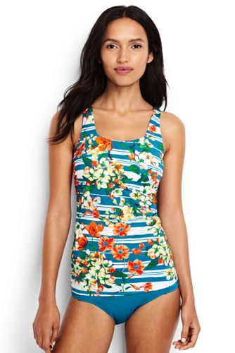 Women's Costa D'Oro Square Neck Floral Stripe Tankini
