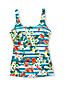 Women's Costo D'Oro Square Neck Floral Stripe Tankini