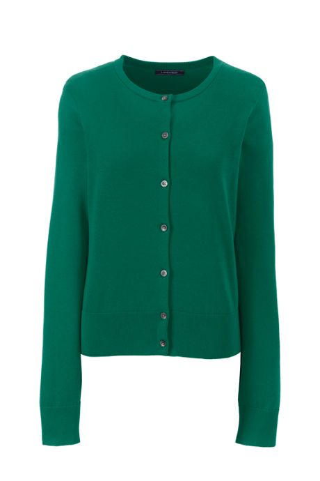Women's Tall Supima Cotton Short Cardigan Sweater