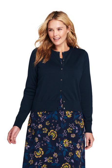 Women s Plus Size Supima Cotton Short Cardigan Sweater 0d180eacc