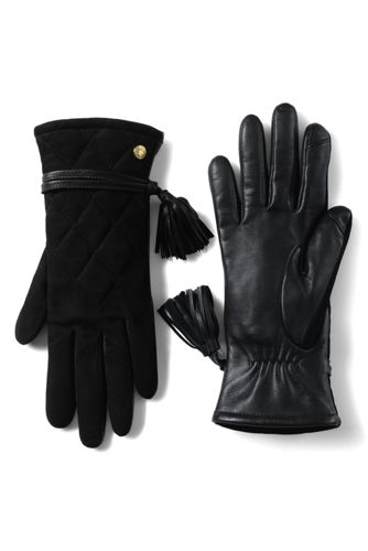 Women's Quilted Suede/Leather Gloves