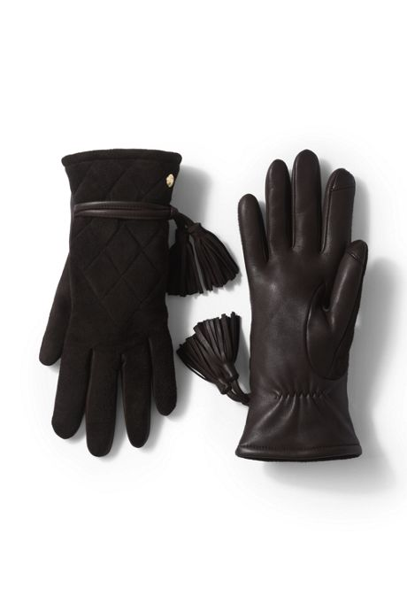 Women's Quilted Suede EZ Touch Texting Gloves