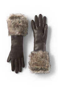 Women's Leather and Faux Fur Gloves