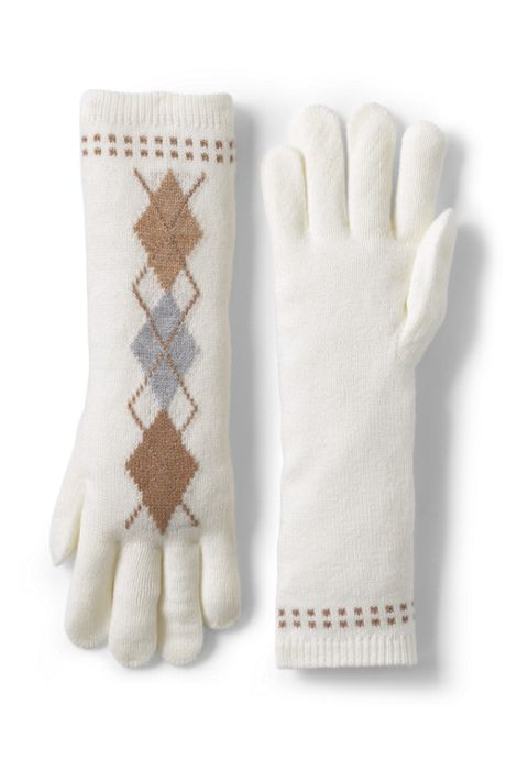 Women's Argyle Knit Long Gloves