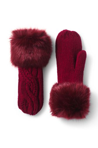 Women's 100 Fleece Ruched Fair Isle EZ Touch Gloves from Lands' End