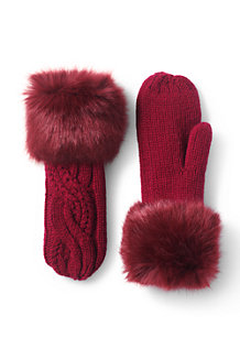 Women's Braided Cable & Fur Mittens