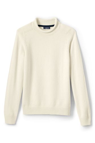 Men's Solid Roll Neck Sweater by Lands' End