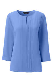 Women's Plus 3/4 Sleeve Pintuck Keyhole Crepe Blouse