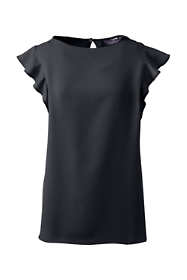 Women's Plus Size Flutter Sleeve Boatneck Crepe Blouse