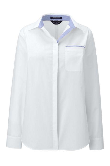 Women's Long Sleeve No Gape Contrast Detail Broadcloth Shirt