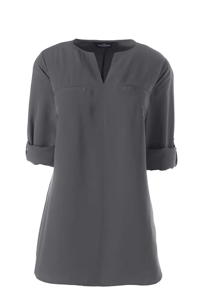 Women's Roll Sleeve Splitneck Tunic Soft Blouse, Front