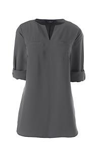 75fb7ef7d01 Women s Roll Sleeve Splitneck Tunic Soft Blouse