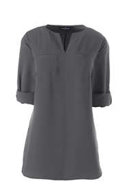 Women's Plus Roll Sleeve Splitneck Tunic Soft Blouse