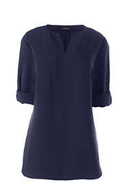 Women's Roll Sleeve Splitneck Tunic Soft Blouse